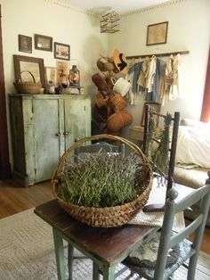 keeping room ~ fresh Lavender in my old basket...