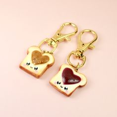 Peanut Butter and Jelly Sandwich BFF Keychain Kawaii Charm Miniature Food Jewelry Polymer Clay Handmade Charm by Sweet Clay Creations