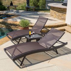 Lounge around in unparalleled comfort and style with the Kauai chaise lounge set. The set comes with two lounges and a folding side table. With multiple configurations possible these pieces are easily transferrable and fold flat for storage.
