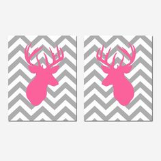 Set of Two Modern Chevron Deer Head Silhouette Prints - 8x10 Zig Zag - Choose Your Colors - Shown in Bright PInk, Yellow, Gray, and More