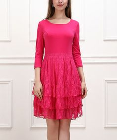 Another great find on #zulily! Fuchsia Lace Tiered Dress by Reborn Collection #zulilyfinds