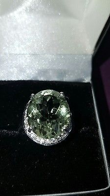 ❤ JAYNES GEM NATURAL 5CT GREEN  AMERTHYST 14CT WHITE GOLD/ 925 SILVER SIZE N