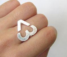 International Language - I Heart U - Sterling Ring