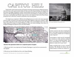 Fifth Grade History Worksheets: Capitol Hill, Washington D. Washington Dc With Kids, Washington Dc Travel, Social Studies Worksheets, Student Travel, National Symbols, Capitol Hill, Fifth Grade, School Ideas, Homeschool