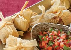 Green Corn Tamales | Vegetarian Times 1 8-oz. pkg. corn husks 2 Tbs. unsalted butter 10 cups fresh or thawed frozen corn kernels ½ cup heavy cream ½ tsp. baking powder ½ cup quick-cooking hominy grits