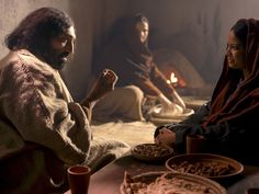Busy Martha complains when her sister Mary chooses to listen to Jesus rather than help her.  Free Vvisuals Luke 10:38-42