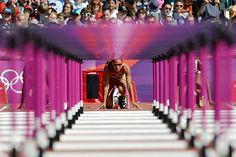 Lolo Jones in the starting blocks for her women's 100-meter hurdles