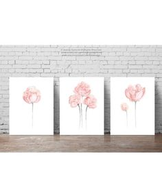 Shabby Chic Home Decor Minimalist Peony Flower by ColorWatercolor  #peony #flower #pink #nursery #poster