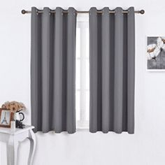 Nicetown Bedroom Blackout Curtains Panels – Window Treatment Thermal Insulated Solid Grommet Blackout for Living Room (Set of 2 Panels, 52 by 63 Inch) - Gardinen ideen No Sew Curtains, Cheap Curtains, Drop Cloth Curtains, Boho Curtains, Black Curtains, Curtains For Sale, Hanging Curtains, Window Curtains, French Curtains