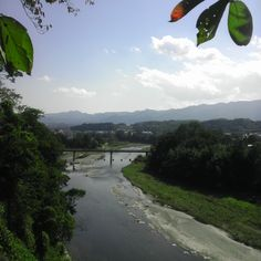 river and mountains  on my daily life and tagged Gunma, japan, landscape, matchaatnoon, mountain, on my daily life, river, silk mill, Tomioka, travel, world heritage.