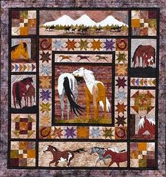 wildlife quilt more quilt patterns art quilt animal quilt horse quilts . Panel Quilts, Quilt Blocks, Quilting Projects, Quilting Designs, Quilting Ideas, Quilt Design, Hand Quilting, Southwestern Quilts, Wildlife Quilts