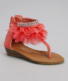 Look at this #zulilyfind! Coral Diamond Ruffle Wedge Sandal #zulilyfinds