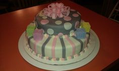 grey and pink baby shower cake #bows