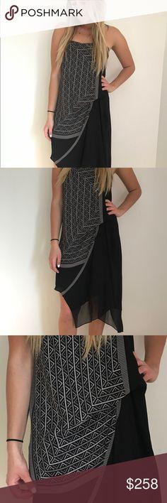BCBG Max Azria Printed Dress Aztec print • Chiffon multilayered construction • Center-back zipper closure • Strapless • Asymmetrical hem • SO Comfortable BCBGMaxAzria Dresses Asymmetrical