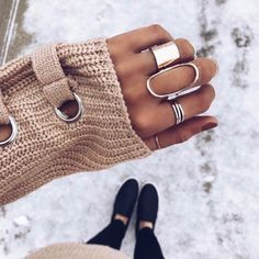 Layered rings + winter vibes by James Michelle Jewelry