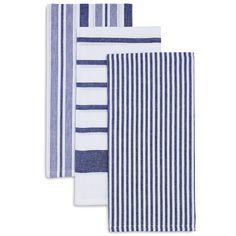 Navy Assorted Stripe Kitchen Towels, Set of 3 | Sur La Table