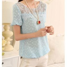 Elegant Scoop Neck Lace Embellished Puff Sleeve Chiffon Blouse For Women, LIGHT BLUE, 2XL in Blouses   DressLily.com