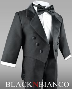 Baby Boys Wedding Tuxedo for Ring Bearers - Black N Bianco