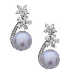 e7e6baba7 Pre-owned Stunning Floral South Sea Pearl Diamond Gold Dangle Earrings  ($4,800) ❤
