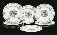 familia rosa platos porcelana con escudo heraldico, dinastia quing, quianlong. 1730