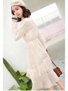 korean fashion street style dress lace asian style asian fashion young style beret style  taobao
