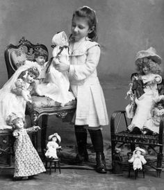 A girl and her dolls