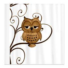 Brown Swirly Tree Owl Shower Curtain