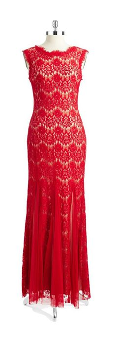 Betsy & Adam Lace Overlay Mermaid Gown Red/Nude