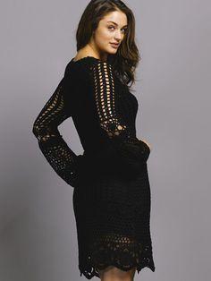 Платье с длинным рукавом крючком. Вязание крючком платья для женщин |