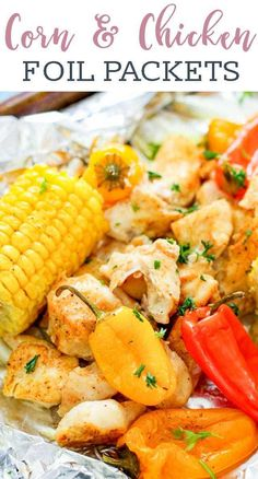 Looking for the perfect summer foil packet recipe? Whether it's to cook on the grill or in the oven, these corn and chicken foil packets are easily made with minimal clean up and maximum flavor! Foil Packet Dinners, Foil Pack Meals, Foil Dinners, Cooking Foil, Grilled Foil Packets, Camping Meals, Camping Recipes, Camping List, Grill Recipes