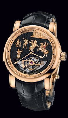 ULYSSE NARDIN - ALEXANDER THE GREAT  The unconquerable hero of Greek history and symbol of strength inspires Ulysse Nardin's Alexander the Great: Westminster Carillon Tourbillon Jaquemarts Minute Repeater, an exceptional timepiece that showcases the mastery of Ulysse Nardin watchmakers. The Westminster has four gongs, each with a different tone (Mi-Do-Re-Sol). As well, all movement parts are decorated, angled and finished by hand. Fifty of these very special, limited-edition timepieces are…