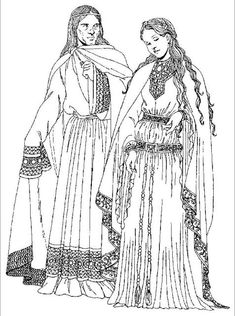 Twelfth-century Frankish royalty. The Frankish prince wears a long, elaborately embroidered bliaud with extremely long sleeves, perhaps to keep his hands warm. His chainse is floor length. Tied at the shoulder, his mantle has an embroidered band at the bottom. The princess wears an outfit with finely embroidered trim. Circling her long bliaud is a double girdle of jeweled leather with silk ties.