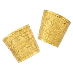 Lot 350 - Pair of Gold Cuff Bangle Bracelets, Zolotas