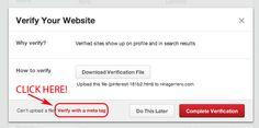 Pinterest Site Verification in Profile Editor
