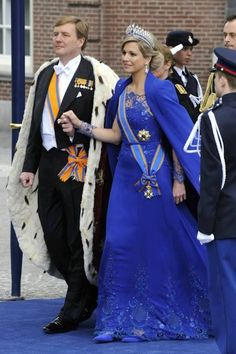 King Willem Alexander and Queen Maxima of the Netherlands at their coronation, 4/30/2013.