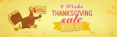 4 weeks for thanksgiving saving up to 22% off  10.12-11.8  plentiful discounts on malloom.com