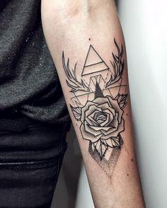 """2,123 Likes, 30 Comments - Sasha Kiseleva (@sashakiseleva) on Instagram: """"✨ #tattoo #ink #blacktattoo #linework #dotwork #rosetattoo #geometrictattoo #forearm #myforestink"""""""