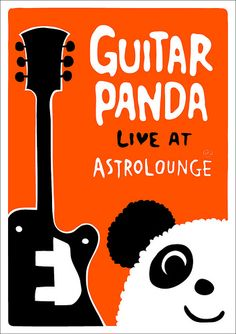This poster for own organized acoustic live event. Special guest was Guitar Panda. Size is A3. Fluorescence orange and black on natural paper like a silk screen.