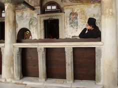 """Priest on """"watch"""" serviced meditating on the Jesus Prayer at the Monastery of St. John the Theologian (Patmos)"""