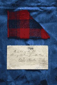 A piece of tartan, believed to be from the plaid of Bonnie Prince Charlie, given to Lady Mackintosh at Moy Hall, Inverness-shire, where he rested before the Battle of Culloden in April 1746. Tests have been carried out on the dyes, which suggest the tartan is of the correct period.