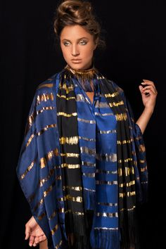 The metallic collection: Hand printed silk scarves with Gold, Silver and Bronze printed stripes. Original design by Dikla Levsky