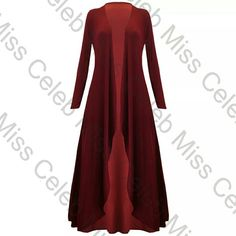 """Red full length 2x cardigan  Maroon/wine color Color shown in pic. Tried on only. Button less. I recommend you be 5'5"""" or be wearing serious heels(which I can't!) lm 5'3"""" and it touched my toes! Otherwise can be cute or elegant, depends how you use it. Material is thin so you don't have to worry about sweating at a party! Jackets & Coats"""