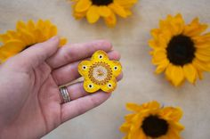 Hand Woven Mustard Yellow Floral Brooch Hand by blendingbybetty