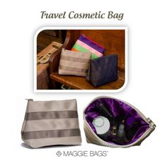 Maggie Bags Travel Cosmetic Bag - This large cosmetic bag is perfect for travel. Tons of room for toiletries and makeup. Lined with the beautiful Maggie Bags  satiny purple lining. http://maggiebags.net/products/travel-costmetic-bag http://maggiebags.net/products/travel-costmetic-bag
