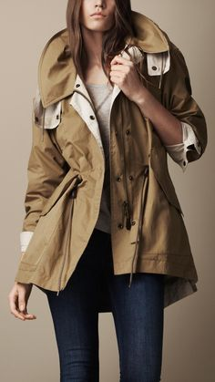 Burberry Brit - Oversize Technical Cotton Parka (Reversible), $995