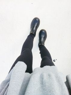 Grey jumper with black jeans and Chelsea boots