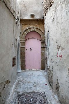 Pink door in Morocco