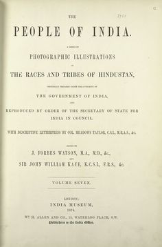 1872 The people of India : A series of photographic illustrations