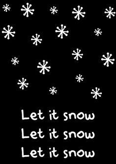 Kerstkaart zwart wit let it snow