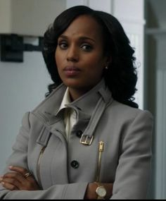 Scandal Fashion: Olivia Pope style sweaters and gold zipper gray coat